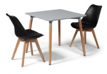 Toulouse Dining Set  - 80cms Square Grey Table & 2 Black Chairs